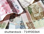 russian rubles and turkish lira ... | Shutterstock . vector #714930364