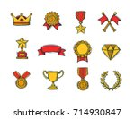 set of winners color handdrawn... | Shutterstock .eps vector #714930847