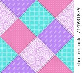 seamless textile patchwork... | Shutterstock .eps vector #714931879