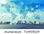 social networking service... | Shutterstock . vector #714935029