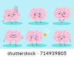 cute cartoon brain on the blue... | Shutterstock . vector #714939805