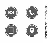 contact info icon set on white... | Shutterstock .eps vector #714942601