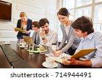 teamwork in business meeting... | Shutterstock . vector #714944491