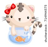 cat and fishbowl | Shutterstock .eps vector #714944575