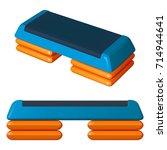 blue and orange plastic step... | Shutterstock .eps vector #714944641