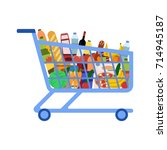 supermarket shopping cart | Shutterstock .eps vector #714945187