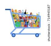 supermarket shopping cart | Shutterstock .eps vector #714945187