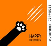 happy halloween. bloody claws... | Shutterstock .eps vector #714945355