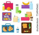 lunch boxes set with vegetables ... | Shutterstock .eps vector #714945661