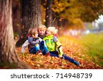 happy kids  friend having fun... | Shutterstock . vector #714948739