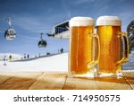beer on desk and winter... | Shutterstock . vector #714950575