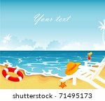 summer tropical banner  vector... | Shutterstock .eps vector #71495173