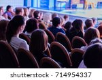 the audience in the theater... | Shutterstock . vector #714954337