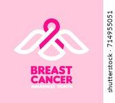 white bird holding pink ribbon... | Shutterstock .eps vector #714955051