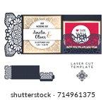vector wedding card laser cut... | Shutterstock .eps vector #714961375