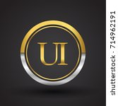 ui letter logo in a circle ...