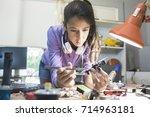 high tech school project     Shutterstock . vector #714963181