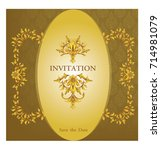 elegant save the date card... | Shutterstock .eps vector #714981079