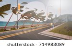 tornado incoming from sea... | Shutterstock .eps vector #714983089