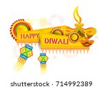 vector illustration of diwali... | Shutterstock .eps vector #714992389