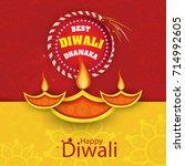 vector illustration of diwali... | Shutterstock .eps vector #714992605