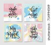 set of four hand lettering... | Shutterstock . vector #714994549