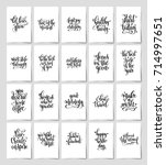 set of 20 black and white hand... | Shutterstock . vector #714997651