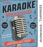 karaoke vintage poster. | Shutterstock .eps vector #714999055