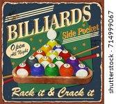 vintage billiards metal sign. | Shutterstock .eps vector #714999067