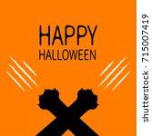 happy halloween. bloody claws... | Shutterstock .eps vector #715007419