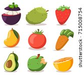 vector set of flat icons of... | Shutterstock .eps vector #715008754