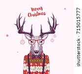 christmas card with nerd... | Shutterstock .eps vector #715015777