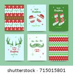 merry christmas greeting card... | Shutterstock .eps vector #715015801