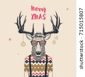 christmas card with cool... | Shutterstock .eps vector #715015807