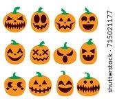 pumpkin vector icons set ... | Shutterstock .eps vector #715021177