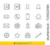 contact icons vectors set   in... | Shutterstock .eps vector #715022584