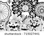 halloween pumpkin candles... | Shutterstock .eps vector #715027441