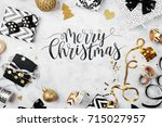 merry christmas card with black ... | Shutterstock . vector #715027957
