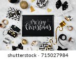merry christmas card with black ... | Shutterstock . vector #715027984