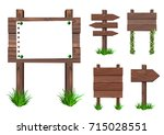 vector set of wooden signs with ... | Shutterstock .eps vector #715028551