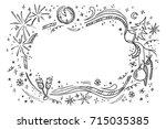 cartoon vector doodles hand... | Shutterstock .eps vector #715035385