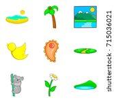 australian fauna icons set.... | Shutterstock .eps vector #715036021