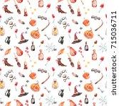 halloween clipart. seamless... | Shutterstock . vector #715036711