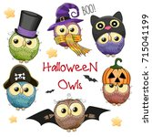 six cute halloween owls... | Shutterstock .eps vector #715041199