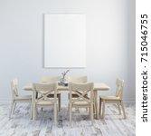 3d render of clean interior... | Shutterstock . vector #715046755