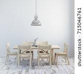 3d render of clean interior... | Shutterstock . vector #715046761