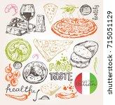 hand drawn italian food | Shutterstock .eps vector #715051129