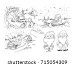 hand draw santa and snowman on... | Shutterstock .eps vector #715054309