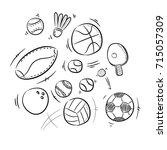 sport ball doodle drawing | Shutterstock .eps vector #715057309