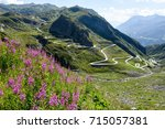 tremola old road which leads to ...   Shutterstock . vector #715057381